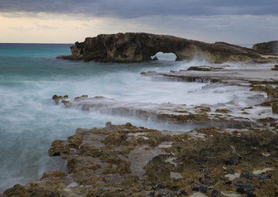 Waves crashing onto a rocky beach