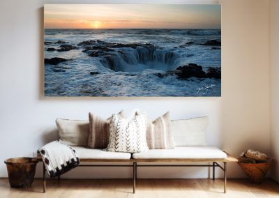 Water sunset artwork installed over seating area