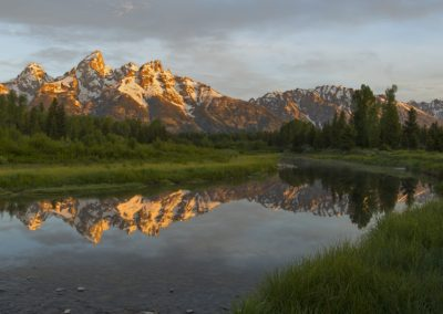 Mountain reflected off of water