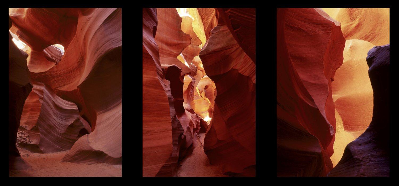 Slot canyon triptych