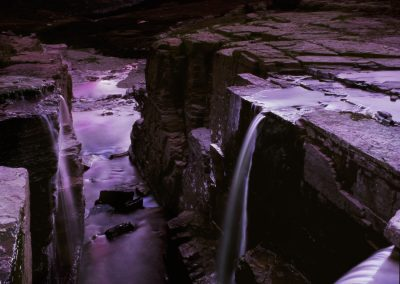 Waterfalls at sunset